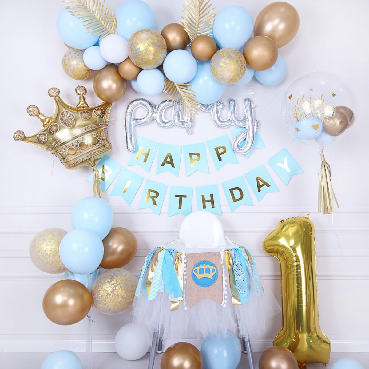 Baby blue crown birthday celebration