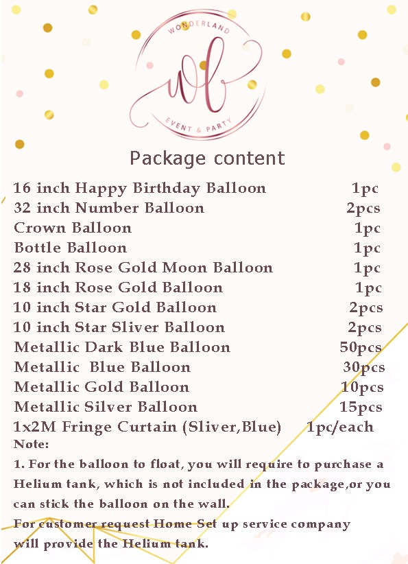 Package details - Aged to perfection party balloon set - Adult Party Decorators in Dubai