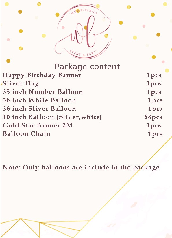 Package Details - Moon Night Silver Balloon Set