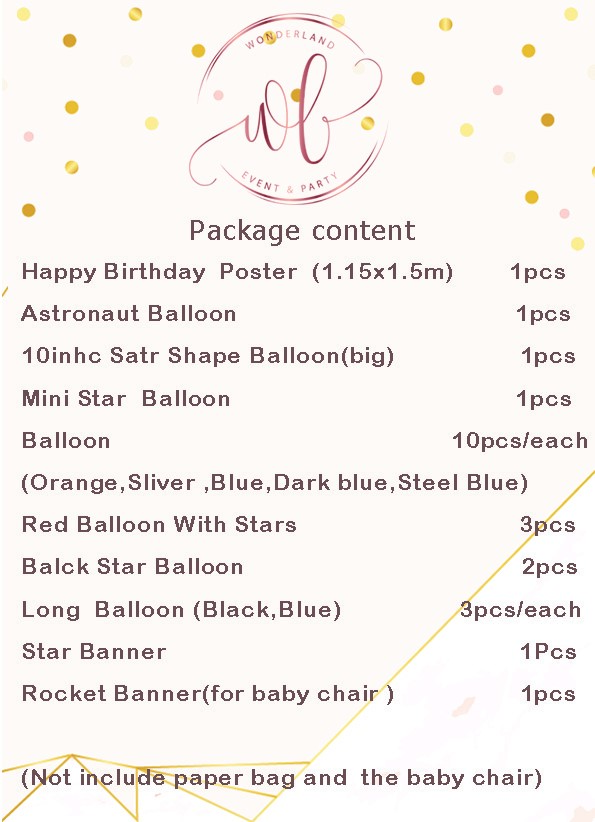Package Details - Astronaut Balloon Set up