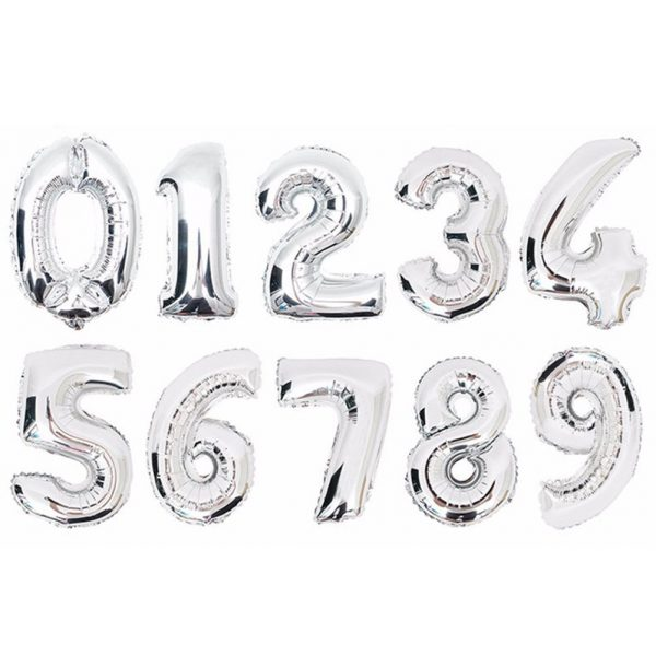 Silver Digit Balloon
